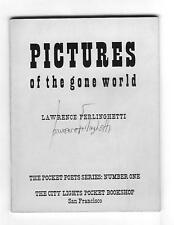 SIGNED Lawrence Ferlinghetti: Pictures of the Gone World, 1956, 1st Pocket Poets