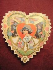 Valentine Card Girl with Hat & Heart No one Else Appealed to me. Used Vintage