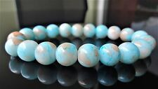 "Light Blue Gemstone bead bracelet Men Women Stretch 10mm - 7.5"" inch Multicolor"