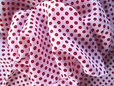 "Ivory & Red Polka Dot Polyester Soft Drapey Fabric By the Metre 60"" wide"
