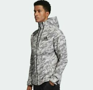 ADIDAS MENS ID REFLECTIVE Gray Urban Digital CAMO HOODED TRACK JACKET Medium New