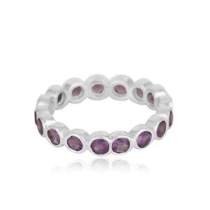 White Rhodium 925 Fine Silver Handmade Amethyst Gemstone Band Ring Jewelry