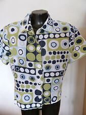 Hot Cotton Short Sleeved Shirt Linen Blend Circles Prin t M