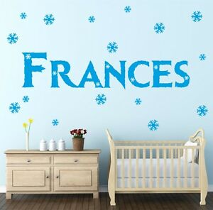 FROZEN Style Personalised Custom Name Wall Sticker Decal Snowflakes Girl | NA11
