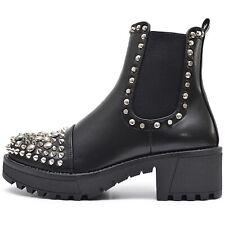 Damen Chelsea Nieten Boots Plateau Stiefeletten Schwarz mit Profil Sohle Punk