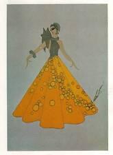 1978 VINTAGE Erte Art Deco stampa vestito giallo