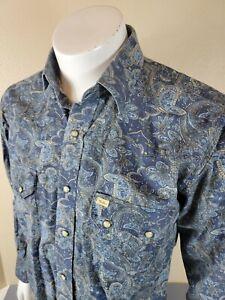 Mens Larry Mahan Cowboy Collection Pearl Snap Shirt Size Medium Paisley Blue