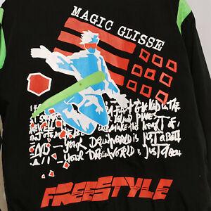 Mens Black & Neon Freestyle Glisse Ski Jacket Sz M Hip Street Wear Zip Pockets