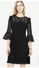 NWT - ANN TAYLOR Women's BELL SLEEVE Black LACE SHIFT DRESS - Petite 00