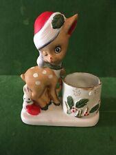 1978 Vintage Jasco Christmas Little Reindeer Porcelain Figurine Candle Holder