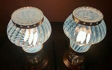 Antique Virden Opaline Swirled Glass Ceiling Light/Lamp Fixture, Pair/Set,1950s