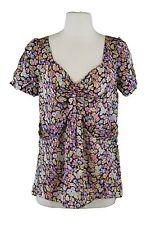 LEIFSDOTTIR Women's Black / Multi Floral Short Sleeve Silk Blouse Sz 6 NWOT