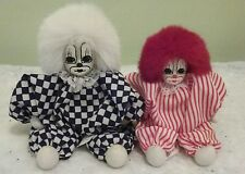 Q-TEE CLOWN DOLLS Vintage HAND MADE & PAINTED lot of two