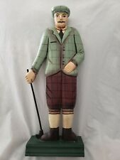 Hand Carved Wooden Golfer Figurine Statue Wood Carving & Painted From Thailand