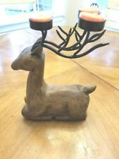 Vtg Reindeer Candle Holder for Tea Lights in all Wood Carving.