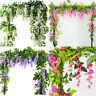 7FT Trailing Artificial Garland Wisteria Flower Plant Foliage Outdoor/Home 2/4pc