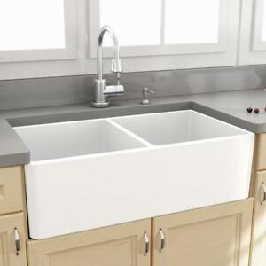 Double Sided Butler Farmhouse Fine Fireclay Sink Kitchen Laundry New White