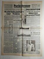 N271 La Une Du Journal paris-midi 8 août 1945 raid inhabituel sur Tokio