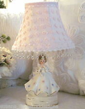 VINTAGE Southern Belle LAMP w CUSTOM Shabby SHADE pink popcorn chenille chic