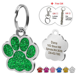 Personalized Dog Tags Engraved Puppy Pet ID Name Collar Tag Paw Glitter+ Whistle