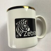 Zebra Coffee Mug VTG Cup White Black Gold Brand Animal Lover Drink collectible