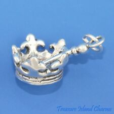 QUEEN CROWN AND SCEPTRE SCEPTER 3D .925 Solid Sterling Silver Charm MADE IN USA
