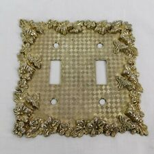VTG 1968 American Tack Hardware Ornate Flower Metal Double Light Switch Cover
