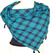 unisex Scarf cotton Twill 100%Check Checks Checked 90cm  blue black tassel