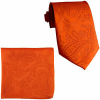 New Men's Polyester Woven Neck Tie necktie & hankie set paisley Orange wedding