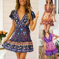 Women Bohemia Floral Mini Dress Lady V-neck Ruffles Short Wrap Tea Dresses