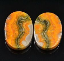 Cts. 31.95 Natural Matching Pair Bumble Bee Jasper ( 25 X 16 MM) Oval Cabochon