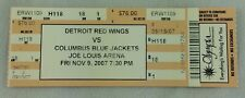 NHL 2007 11/09 Columbus Blue Jackets at Detroit Red Wings Hockey Full Ticket