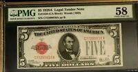 1928A $5 PMG58 CHOICE ABOUT UNC US LEGAL TENDER NOTE WOODS/MILLS RED SEAL