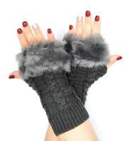 guanti manicotti senza dita con pelliccia moda inverno scalda mani NUOVO