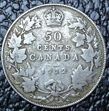 OLD CANADIAN COIN 1912 - 50 CENTS - .925 SILVER - George V - Titanic era