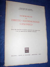 Sommario di diritto matrimoniale canonico / Vincenzo Del Giudice