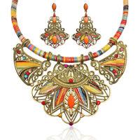 Fashion Women Boho Choker Necklace Earring Set Tribal Vintage Ethnic Jewelry