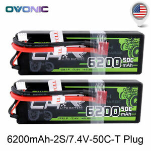 2X 50C 6200mAh 7.4V 2S Lipo Battery W/ Deans for RC Car Evader BX Traxxas Slash