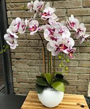 Neu natürliches Gesteck Weiß/Bordeaux Orchidee 70 cm Tisch-Deko Kunstblumen