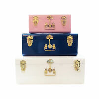 Zanzer Colorful Trunks Set of 3 Vintage Storage with Gold Hardware Space Saver