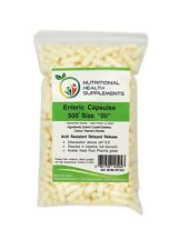 """500 Enteric Coated Delayed Release Capsules - Size 00 (#00 """"00"""") White"""