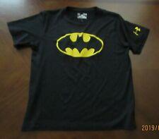 Under Armour Loose HeatGear Short Sleeve Black Batman Shirt Youth Large