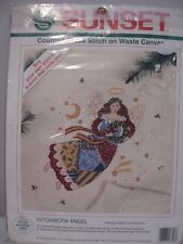 Sunset Patchwork Angel Counted Cross Stitch on Waste Canvas Kit 1994 Made USA