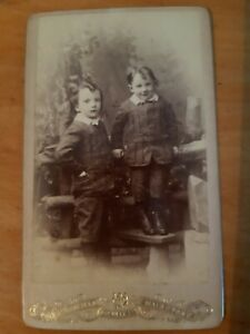 CDV Photo 2 Boys Brothers Matched Suits + Hair, Woodfield of Maidstone Kent SS