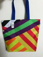 Donald X Clinique Shopping Shoulder Travel Large Tote Rainbow Strip Bag