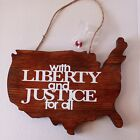 Americana Patriotic Wall Art Decor Wood Plaque With Liberty And Justice For All