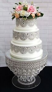 STUNNING UNIQUE WATERFALL CRYSTAL WEDDING CAKE STAND