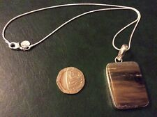 Stripey  Jasper 925 silver pendant with a 925 silver snake chain app16inch long