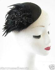 Black Feather Fascinator Headpiece Beaded Vintage Races Hair Clip Hat 1940s R76