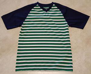 Boys Fashion V-Neck Striped Short Sleeve Shirt-XS-S-M-L-XL